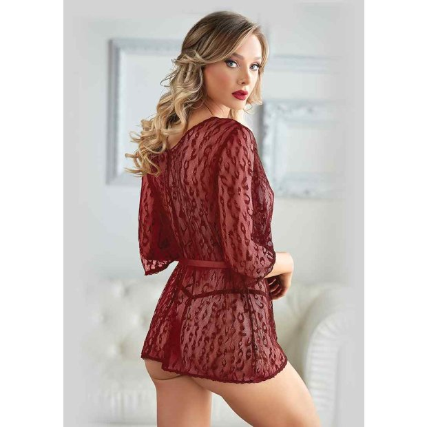 Leopard Lace Robe with G-string Bordeaux Queen Size