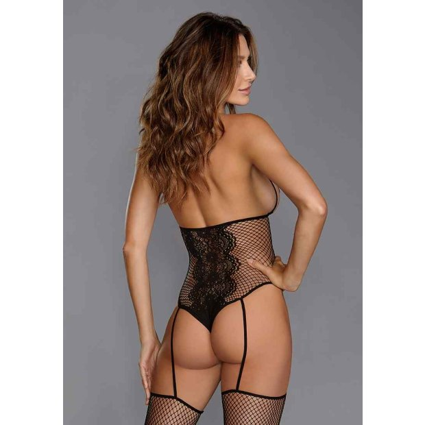 Fishnet & Lace Teddy Bodystocking Black One Size