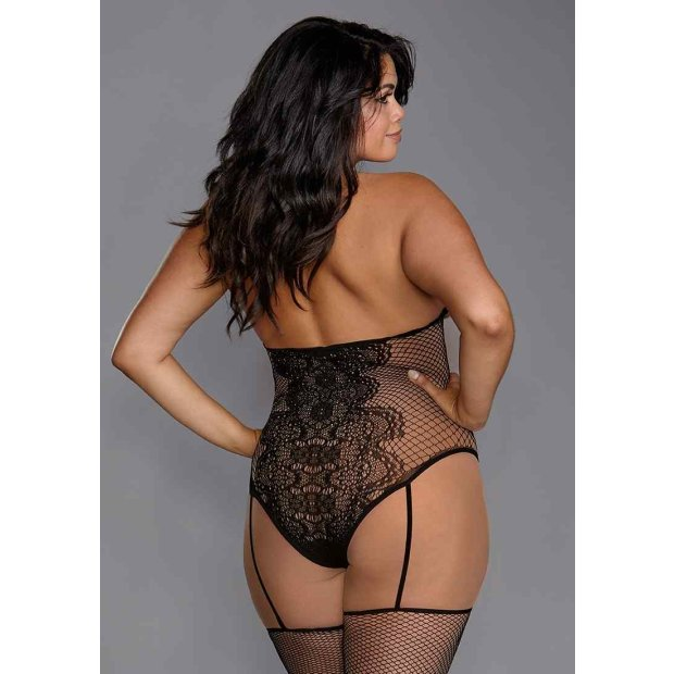 Fishnet & Lace Teddy Bodystocking Black Queen Size