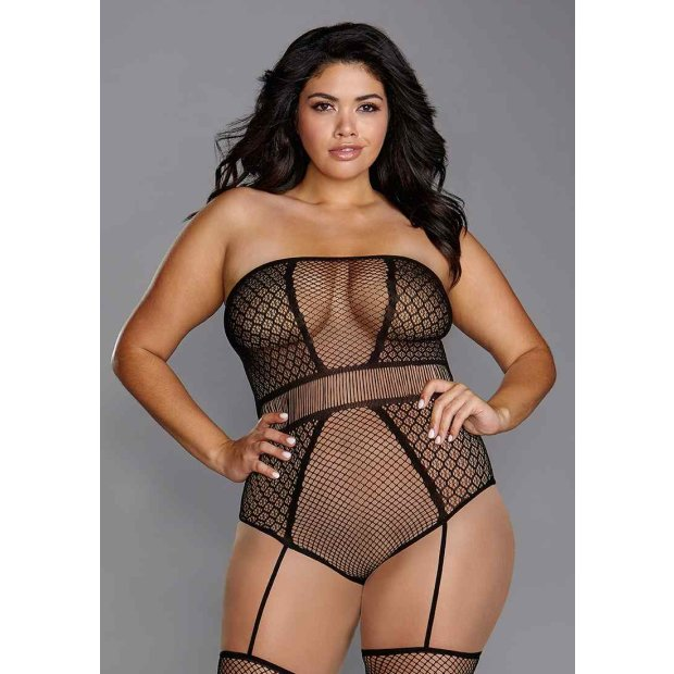 Strapless Teddy Bodystocking Black Queen Size