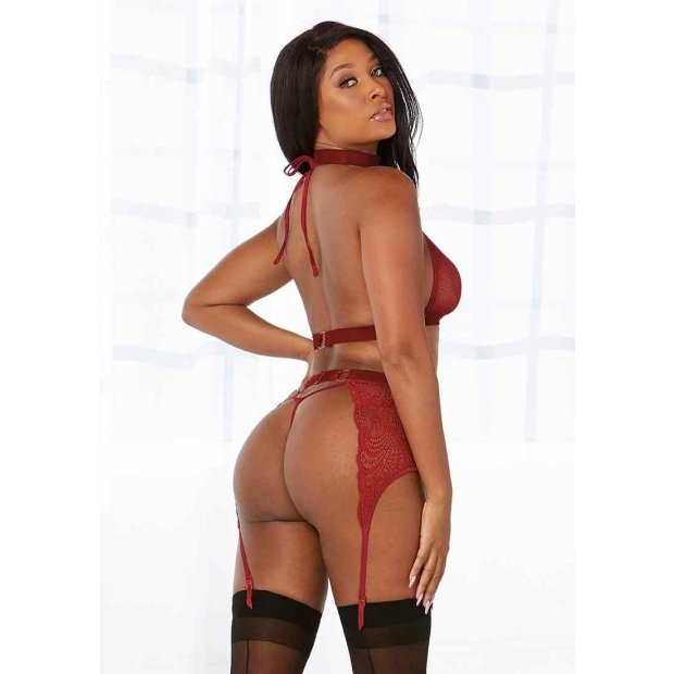 Fishnet & Lace 4-Pc Set Rot One Size