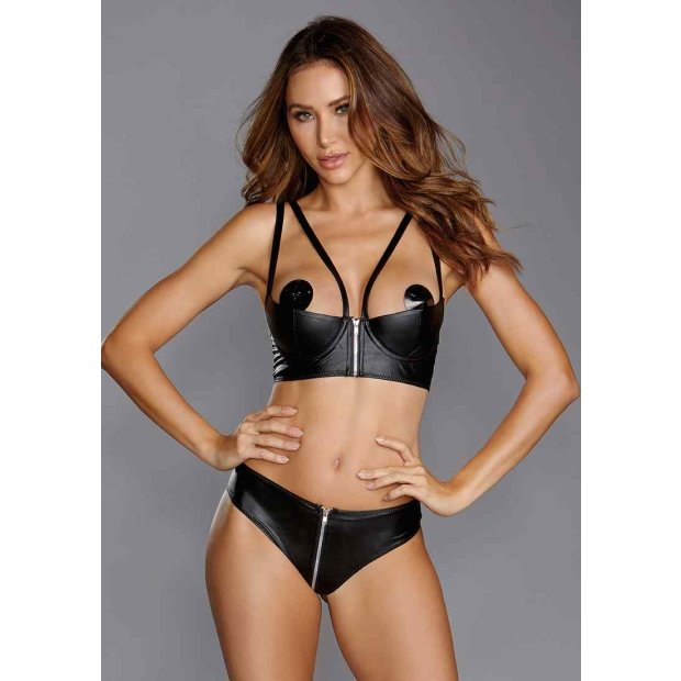 Faux-Leather Shelf Bra Set Black L