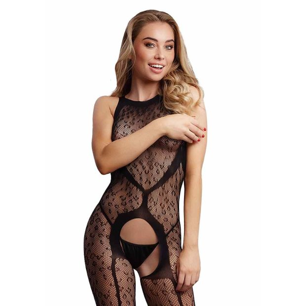 Crotchless Leopard Bodystocking - Black One Size