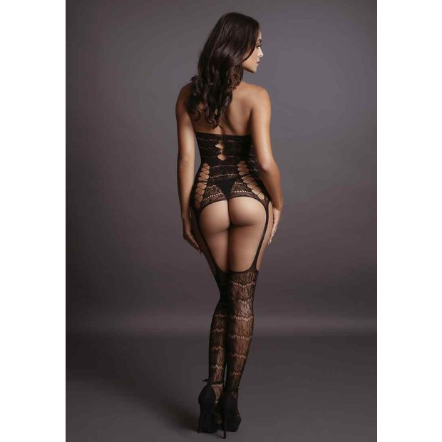 Lace Suspender Bodystocking - Black One Size