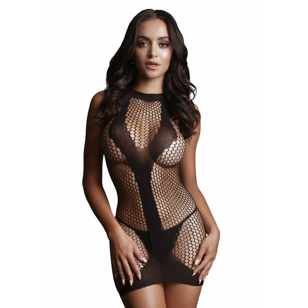 Net Contrast Mini Dress Black One Size