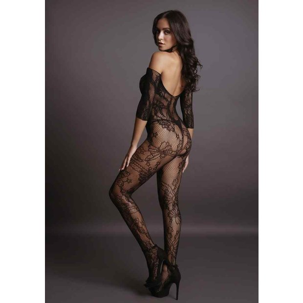 Lace Sleeved Bodystocking - Black One Size